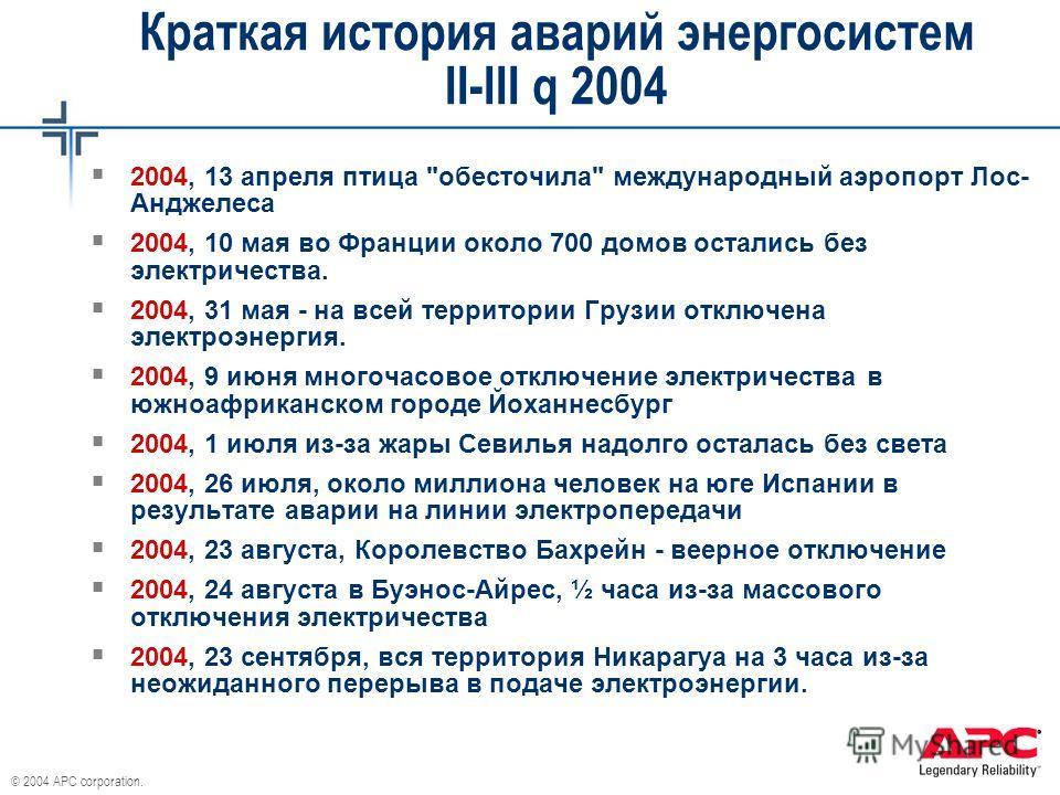 © 2004 APC corporation. Краткая история аварий энергосистем II-III q 2004 2004, 13 апреля птица