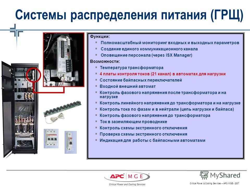 Critical Power & Cooling Services – APC-MGE - 2007 Функции: Полномасштабный мониторинг входных и выходных параметров Создание единого коммуникационного канала Оповещение персонала (через ISX Manager) Возможности: Температура трансформатора 4 платы ко