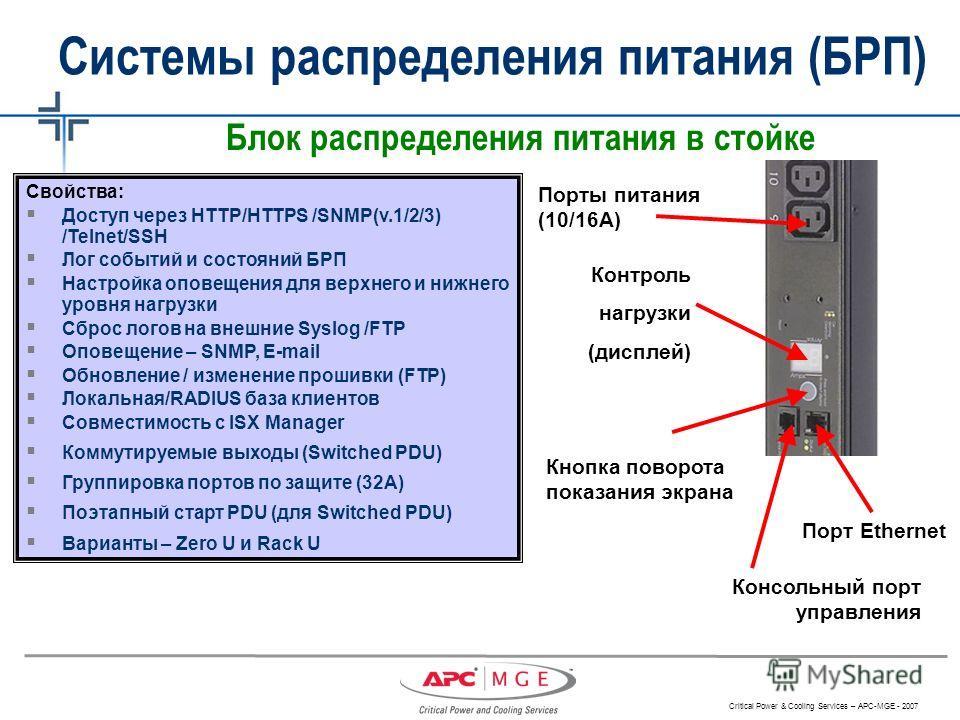 Critical Power & Cooling Services – APC-MGE - 2007 Блок распределения питания в стойке Контроль нагрузки (дисплей) Порты питания (10/16А) Консольный порт управления Порт Ethernet Кнопка поворота показания экрана Системы распределения питания (БРП) Св