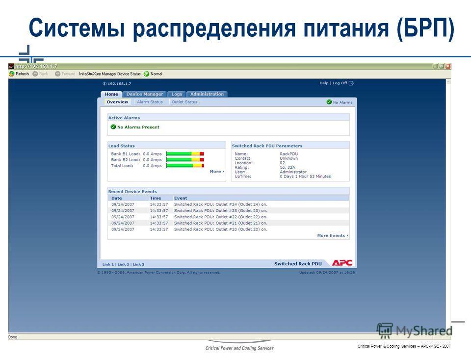 Critical Power & Cooling Services – APC-MGE - 2007 Системы распределения питания (БРП)