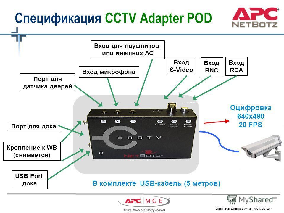 Critical Power & Cooling Services – APC-MGE - 2007 Вход S-Video Вход BNC Вход RCA Спецификация ССTV Adapter POD Порт для дока Крепление к WB (снимается) USB Port дока Порт для датчика дверей Вход микрофона Вход для наушников или внешних АС Оцифровка