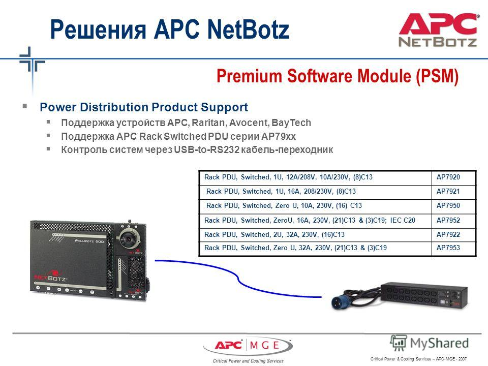 Critical Power & Cooling Services – APC-MGE - 2007 Решения APC NetBotz Premium Software Module (PSM) Rack PDU, Switched, 1U, 12A/208V, 10A/230V, (8)C13AP7920 Rack PDU, Switched, 1U, 16A, 208/230V, (8)C13AP7921 Rack PDU, Switched, Zero U, 10A, 230V, (