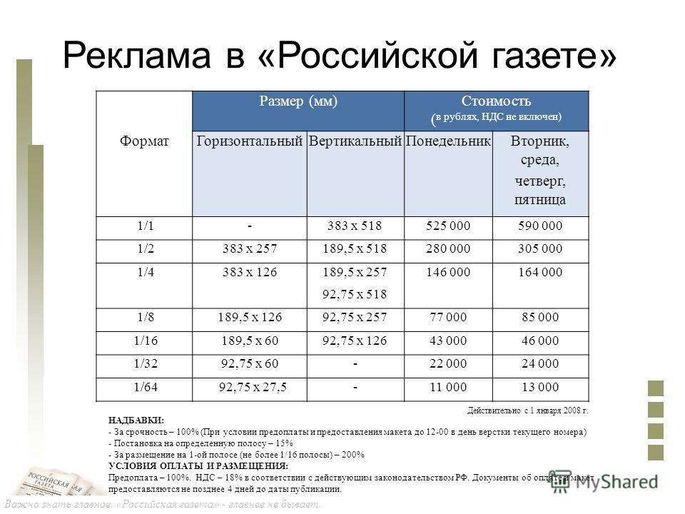 Важно знать главное. «Российская газета» - главнее не бывает. Реклама в «Российской газете» Размер (мм)Стоимость ( в рублях, НДС не включен) ФорматГоризонтальныйВертикальныйПонедельникВторник, среда, четверг, пятница 1/1-383 х 518525 000590 000 1/238