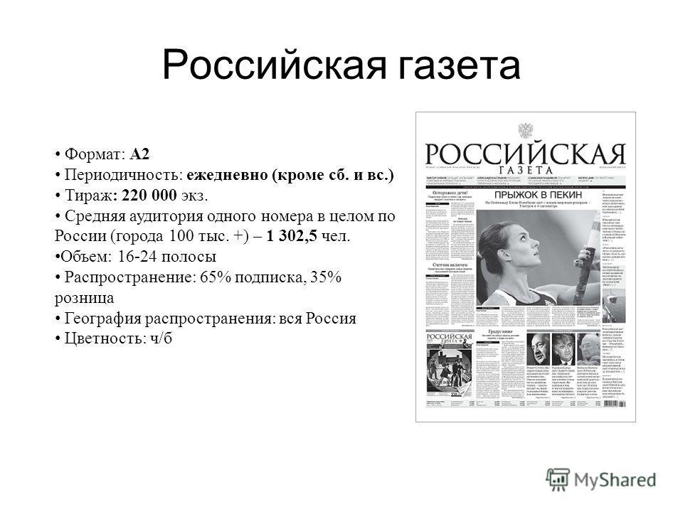 Российская газета Формат: А2 Периодичность: ежедневно (кроме сб. и вс.) Тираж: 220 000 экз. Средняя аудитория одного номера в целом по России (города 100 тыс. +) – 1 302,5 чел. Объем: 16-24 полосы Распространение: 65% подписка, 35% розница География
