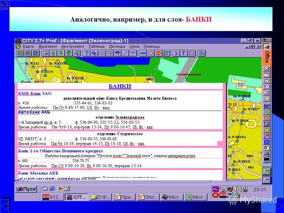 По запросам возможно получение итоговых данных, например списка МАГАЗИНОВ с указанием их размещения и времени работы Аналогично, например, и для слоя- БАНКИ
