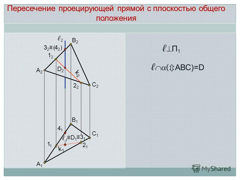 А2А2 В2В2 С2С2 1212 2 D2D2 А1А1 С1С1 В1В1 2121 1 2 k2k2 Пересечение проецирующей прямой с плоскостью общего положения П 1 3 2 4 2 4141 D 1 1 3 1 ( ) ( АВС)=D k1k1