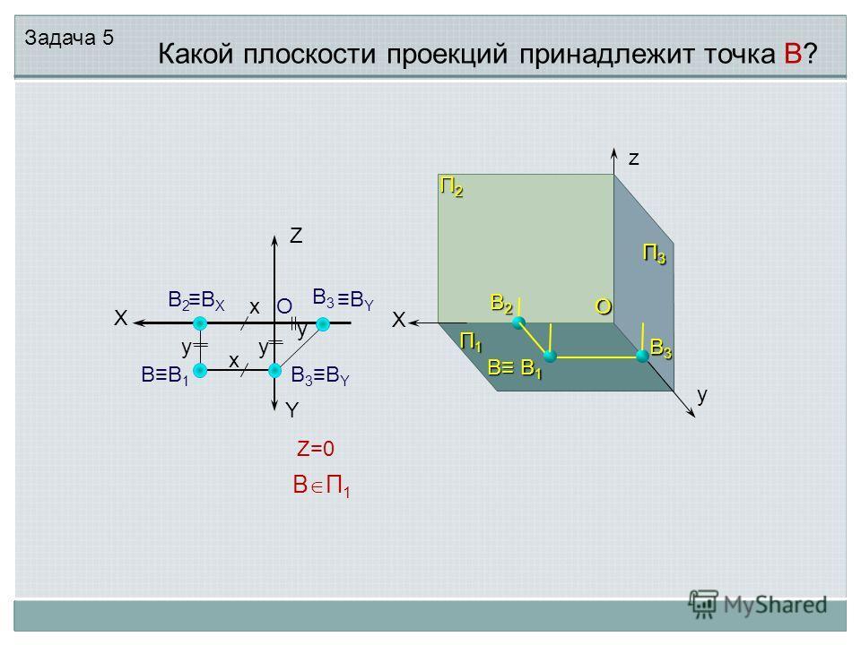 В1В1В1В1 В В2В2В2В2 В2В2 В1В1 X X В3В3В3В3 П2П2П2П2 П1П1П1П1 П3П3П3П3 B BYBY Y Z B П 1 Z=0 x x y y y В3BYВ3BY z y B X В3В3 Какой плоскости проекций принадлежит точка В? OO Задача 5