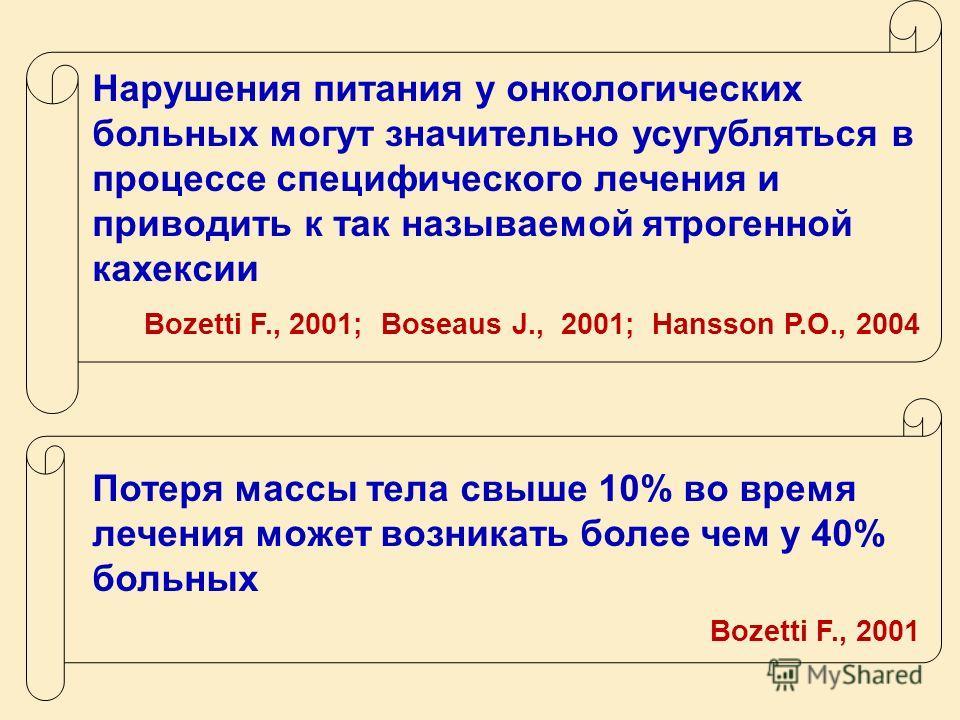 Нарушения питания у онкологических больных могут значительно усугубляться в процессе специфического лечения и приводить к так называемой ятрогенной кахексии Bozetti F., 2001; Boseaus J., 2001; Hansson P.O., 2004 Потеря массы тела свыше 10% во время л
