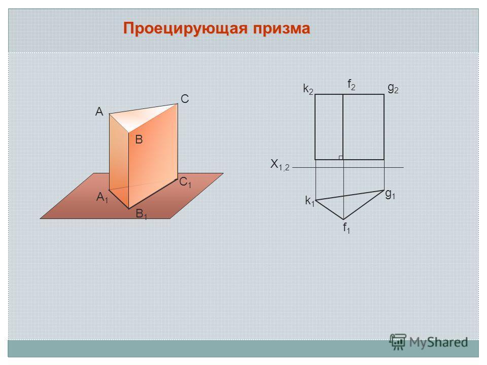 Проецирующая призма А В С С1С1 В1В1 А1А1 k2k2 k1k1 f1f1 g1g1 g2g2 f2f2 X 1,2