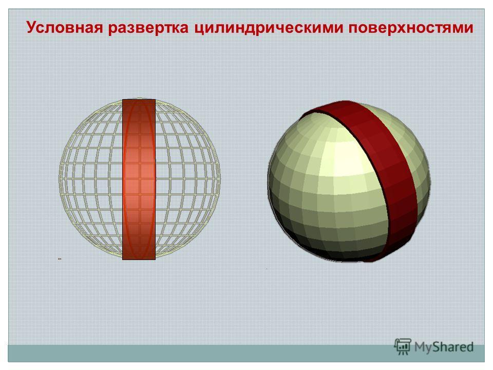 Условная развертка цилиндрическими поверхностями