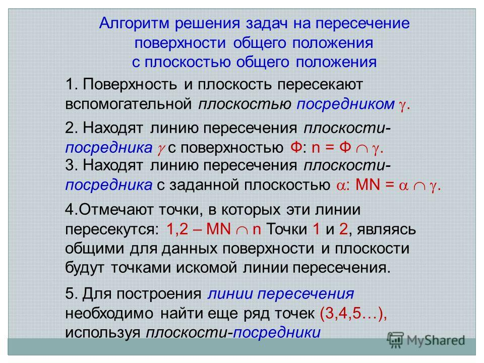 1. Поверхность и плоскость пересекают вспомогательной плоскостью посредником. 2. Находят линию пересечения плоскости- посредника с поверхностью Ф: n = Ф. 3. Находят линию пересечения плоскости- посредника с заданной плоскостью : MN =. 4.Отмечают точк