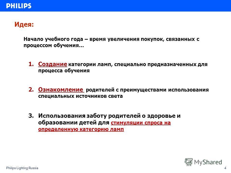 4Philips Lighting Russia Идея: Начало учебного года – время увеличения покупок, связанных с процессом обучения… 1.Создание категории ламп, специально предназначенных для процесса обучения 2.Ознакомление родителей с преимуществами использования специа