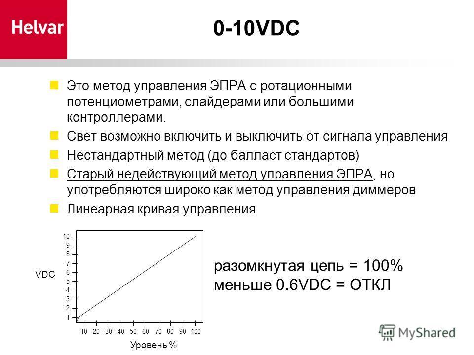 0-10VDC Это метод управления ЭПРА с ротационными потенциометрами, слайдерами или большими контроллерами. Свет возможно включить и выключить от сигнала управления Нестандартный метод (до балласт стандартов) Старый недействующий метод управления ЭПРА,