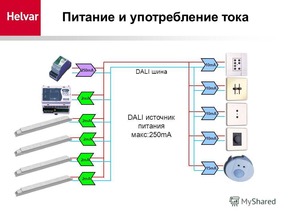 10mA 15mA DIMMER DALI шина 250mA 2mA DALI источник питания макс:250mA Питание и употребление тока 800