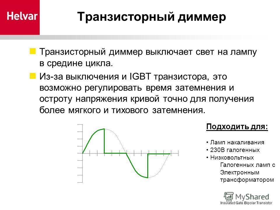 Tранзисторный диммер Транзисторный диммер выключает свет на лампу в средине цикла. Из-за выключения и IGBT транзистора, это возможно регулировать время затемнения и остроту напряжения кривой точно для получения более мягкого и тихового затемнения. In