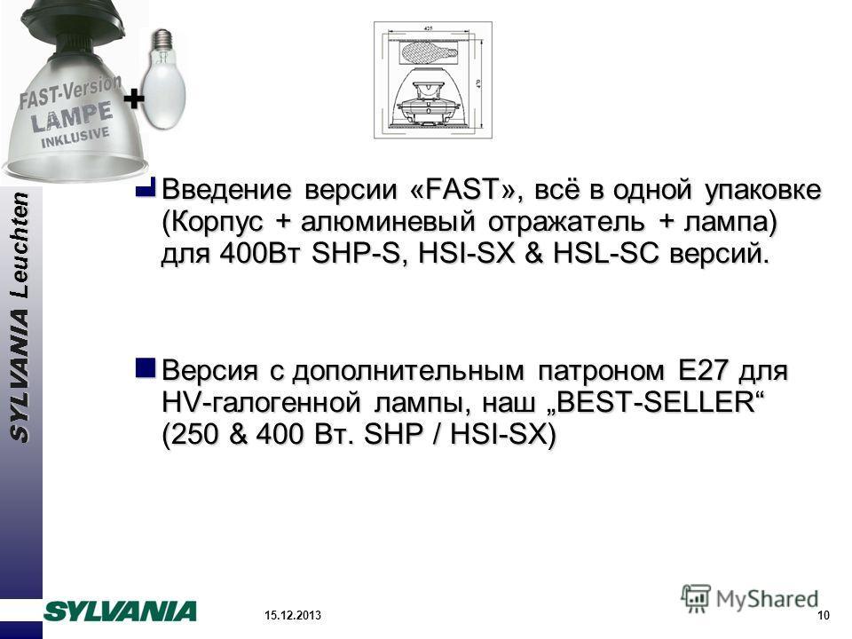 SYLVANIA Leuchten 15.12.201310 Введение версии «FAST», всё в одной упаковке (Корпус + алюминевый отражатель + лампа) для 400Вт SHP-S, HSI-SX & HSL-SC версий. Введение версии «FAST», всё в одной упаковке (Корпус + алюминевый отражатель + лампа) для 40