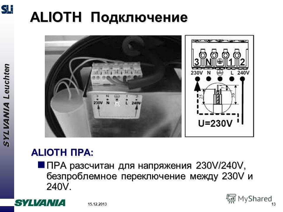 SYLVANIA Leuchten 15.12.201313 ALIOTH Подключение ALIOTH ПРА: ПРА разсчитан для напряжения 230V/240V, безпроблемное переключение между 230V и 240V. ПРА разсчитан для напряжения 230V/240V, безпроблемное переключение между 230V и 240V. 230V 240V N L
