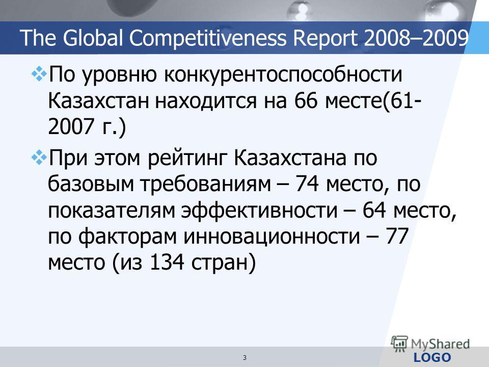 LOGO The Global Competitiveness Report 2008–2009 По уровню конкурентоспособности Казахстан находится на 66 месте(61- 2007 г.) При этом рейтинг Казахстана по базовым требованиям – 74 место, по показателям эффективности – 64 место, по факторам инноваци
