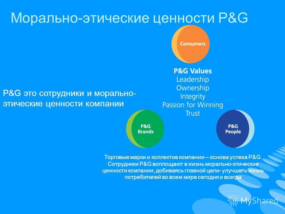 Морально-этические ценности P&G P&G это сотрудники и морально- этические ценности компании Торговые марки и коллектив компании – основа успеха P&G. Сотрудники P&G воплощают в жизнь морально-этические ценности компании, добиваясь главной цели- улучшат