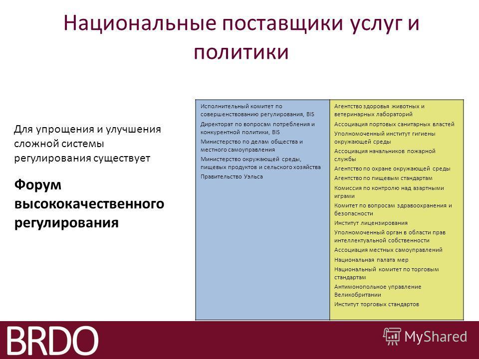 Национальные поставщики услуг и политики Для упрощения и улучшения сложной системы регулирования существует Форум высококачественного регулирования Исполнительный комитет по совершенствованию регулирования, BIS Директорат по вопросам потребления и ко