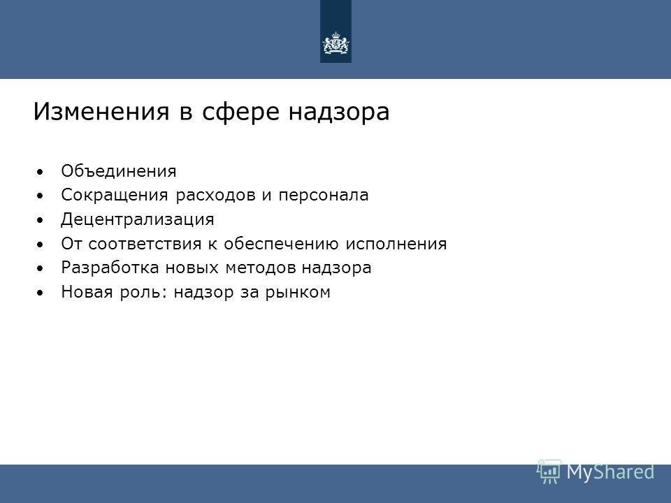 Изменения в сфере надзора Объединения Сокращения расходов и персонала Децентрализация От соответствия к обеспечению исполнения Разработка новых методов надзора Новая роль: надзор за рынком