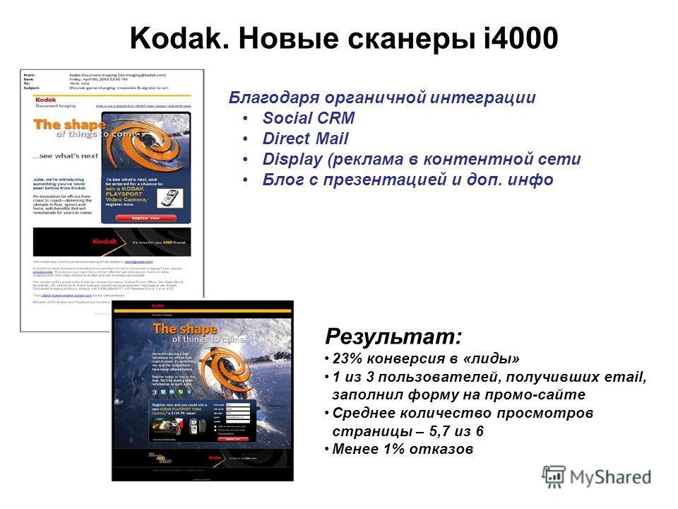 Результат: 23% конверсия в «лиды» 1 из 3 пользователей, получивших email, заполнил форму на промо-сайте Среднее количество просмотров страницы – 5,7 из 6 Менее 1% отказов Kodak. Новые сканеры i4000 Благодаря органичной интеграции Social CRM Direct Ma