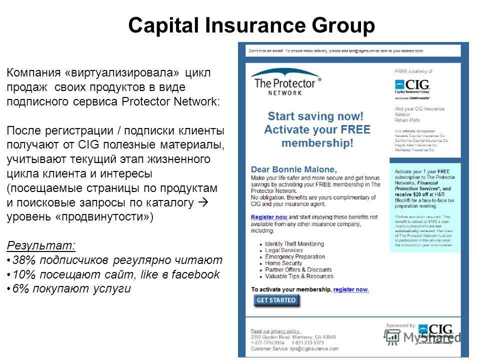 Capital Insurance Group Компания «виртуализировала» цикл продаж своих продуктов в виде подписного сервиса Protector Network: После регистрации / подписки клиенты получают от CIG полезные материалы, учитывают текущий этап жизненного цикла клиента и ин