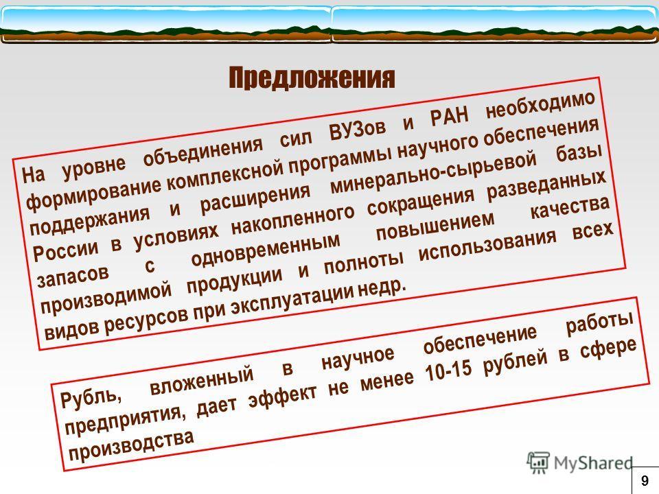 Предложения На уровне объединения сил ВУЗов и РАН необходимо формирование комплексной программы научного обеспечения поддержания и расширения минерально-сырьевой базы России в условиях накопленного сокращения разведанных запасов с одновременным повыш