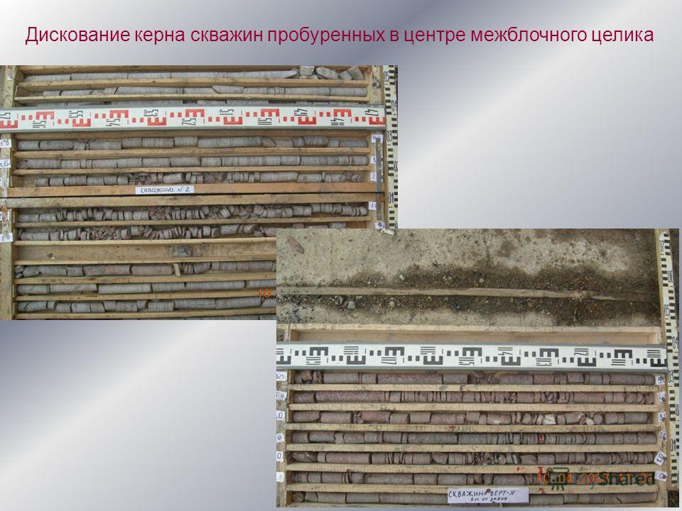 Дискование керна скважин пробуренных в центре межблочного целика