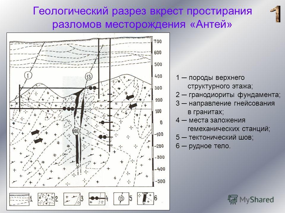 Геологический разрез вкрест простирания разломов месторождения «Антей» 1 породы верхнего структурного этажа; 2 гранодиориты фундамента; 3 направление гнейсования в гранитах; 4 места заложения гемеханических станций; 5 тектонический шов; 6 рудное тело
