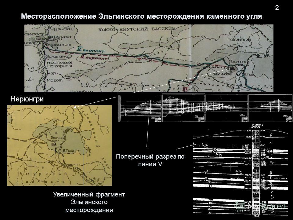 Месторасположение Эльгинского месторождения каменного угля 2 Увеличенный фрагмент Эльгинского месторождения Нерюнгри Поперечный разрез по линии V