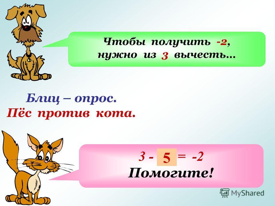 Блиц – опрос. Пёс против кота. Чтобы получить -2, нужно из 3 вычесть… 3 - … = -2 Помогите! 5