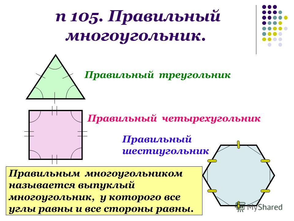 п 105. Правильный многоугольник. Правильный треугольник Правильный четырехугольник Правильный шестиугольник Правильным многоугольником называется выпуклый многоугольник, у которого все углы равны и все стороны равны.
