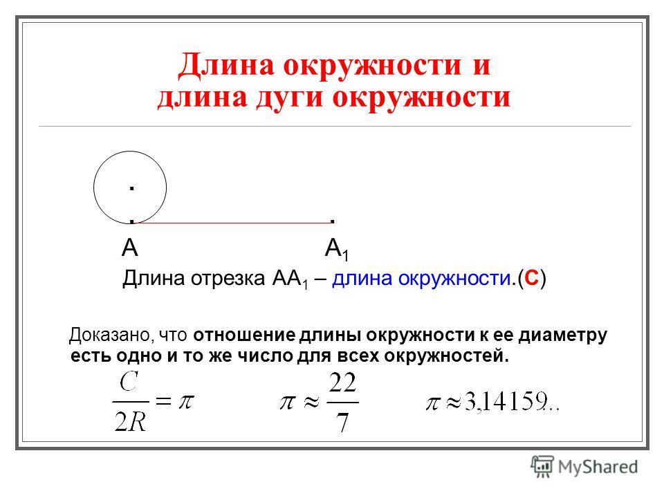 Длина окружности и длина дуги окружности.. А А 1 Длина отрезка АА 1 – длина окружности.(С) Доказано, что отношение длины окружности к ее диаметру есть одно и то же число для всех окружностей.