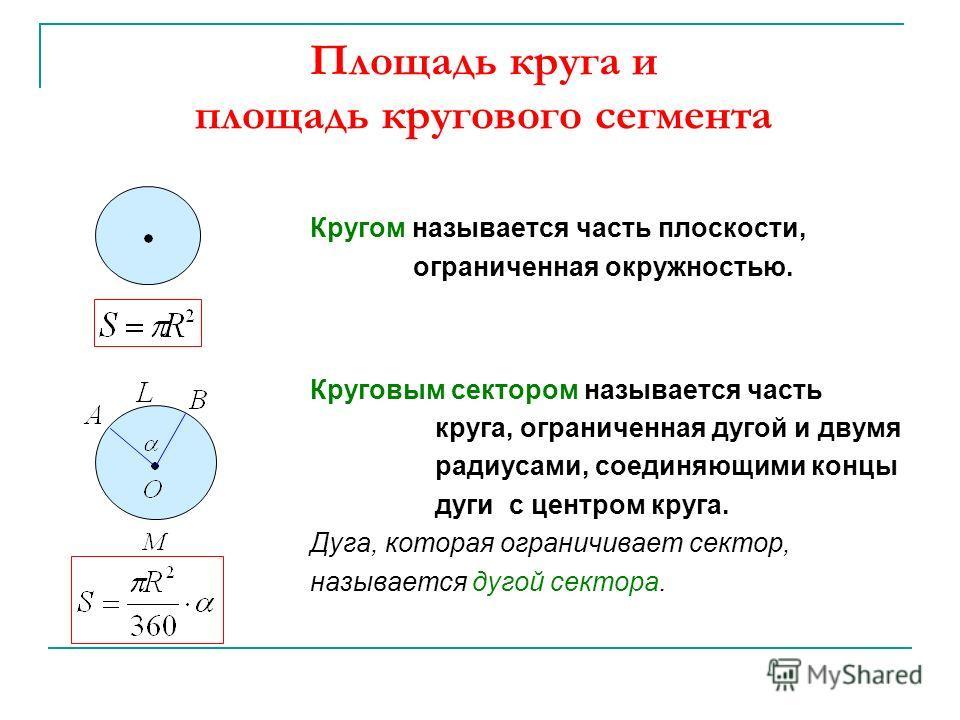 Площадь круга и площадь кругового сегмента Кругом называется часть плоскости, ограниченная окружностью. Круговым сектором называется часть круга, ограниченная дугой и двумя радиусами, соединяющими концы дуги с центром круга. Дуга, которая ограничивае