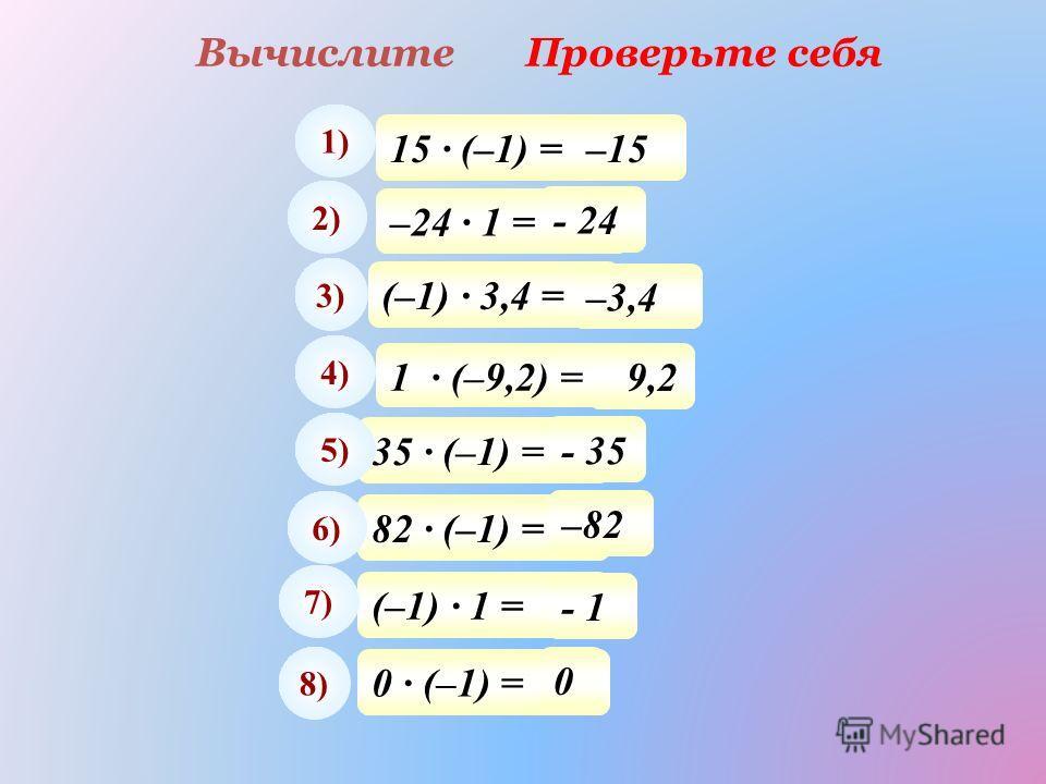 ВычислитеПроверьте себя 15 · (–1) = 1) –15 –24 · 1 = 2) - 24 (–1) · 3,4 = 3) –3,4 35 · (–1) = 5) - 35 82 · (–1) = 6) –82 (–1) · 1 = 7) - 1 0 · (–1) = 8) 0 4) - 9,2 1 · (–9,2) =