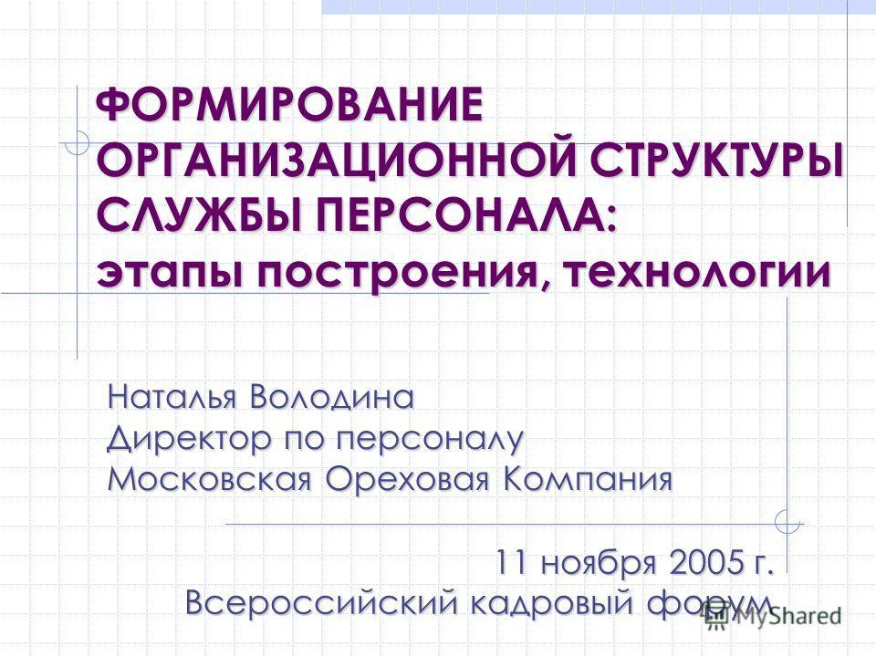 11 ноября 2005 г. Всероссийский кадровый форум Наталья Володина Директор по персоналу Московская Ореховая Компания ФОРМИРОВАНИЕ ОРГАНИЗАЦИОННОЙ СТРУКТУРЫ СЛУЖБЫ ПЕРСОНАЛА: этапы построения, технологии
