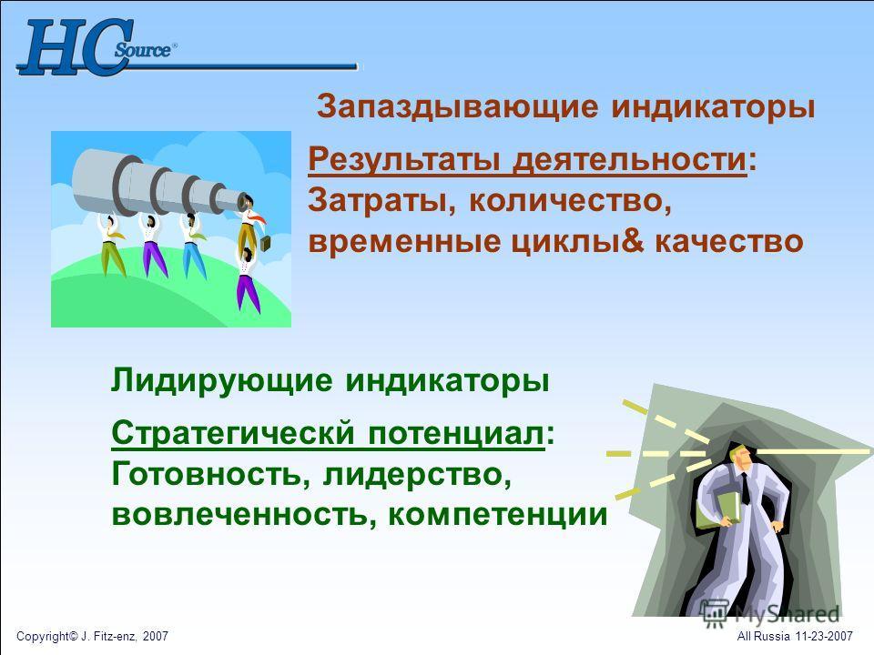 Copyright© J. Fitz-enz, 2007All Russia 11-23-2007 Запаздывающие индикаторы Результаты деятельности: Затраты, количество, временные циклы& качество Лидирующие индикаторы Стратегическй потенциал: Готовность, лидерство, вовлеченность, компетенции
