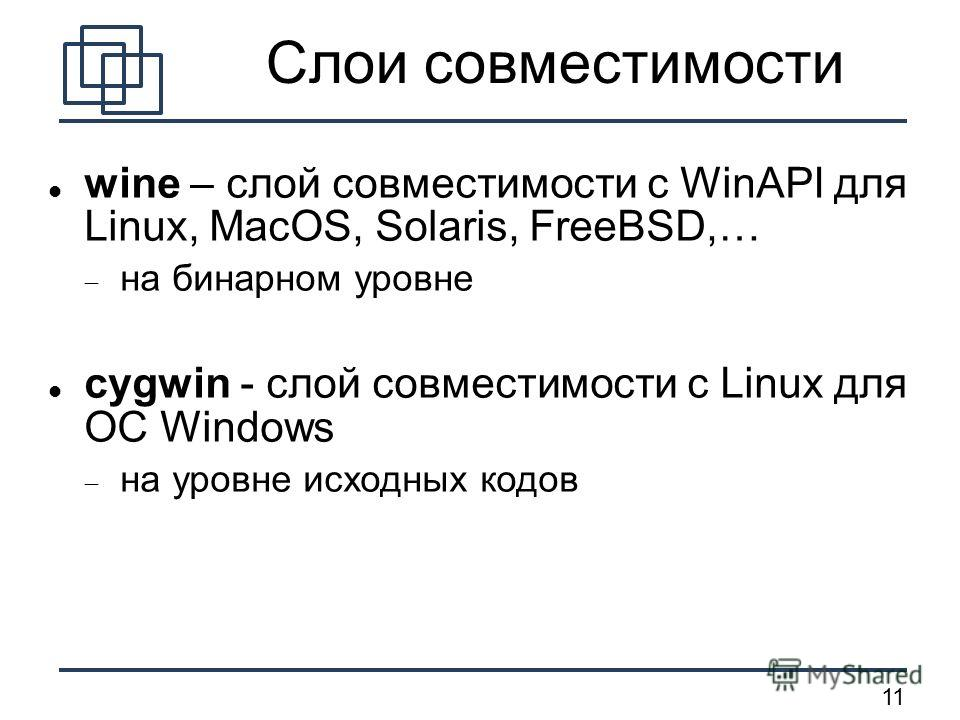 11 Слои совместимости wine – слой совместимости с WinAPI для Linux, MacOS, Solaris, FreeBSD,… на бинарном уровне cygwin - слой совместимости с Linux для ОС Windows на уровне исходных кодов