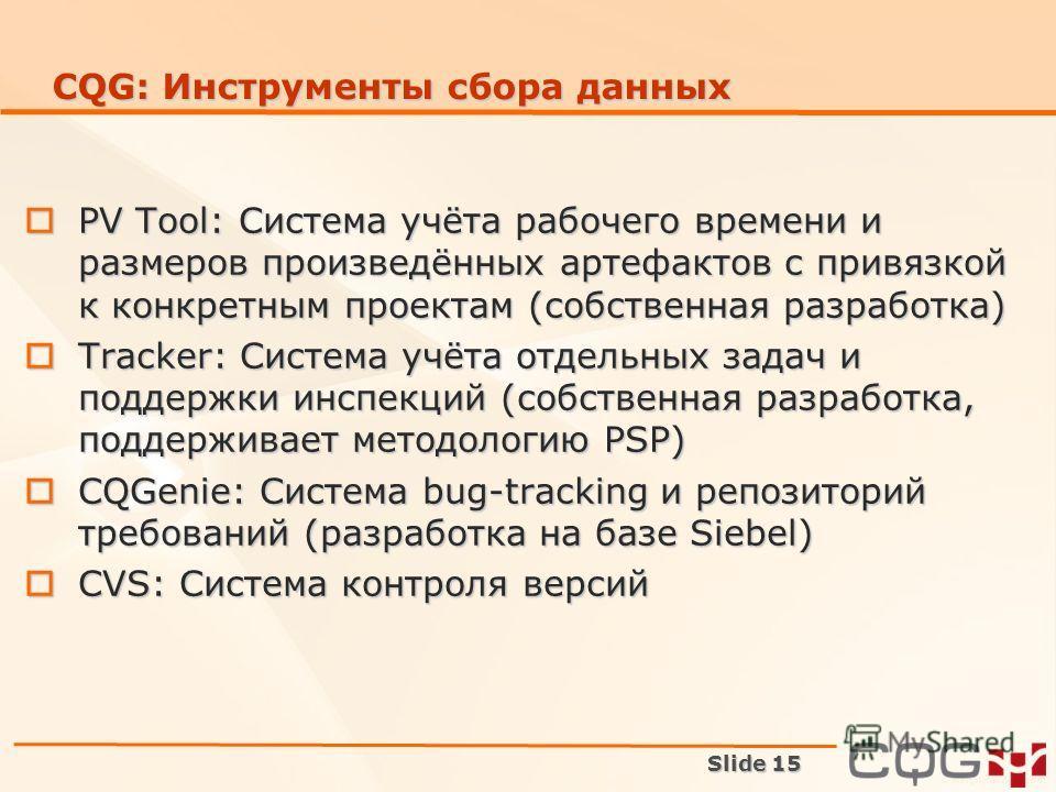 Slide 15 CQG: Инструменты сбора данных PV Tool: Система учёта рабочего времени и размеров произведённых артефактов с привязкой к конкретным проектам (собственная разработка) PV Tool: Система учёта рабочего времени и размеров произведённых артефактов