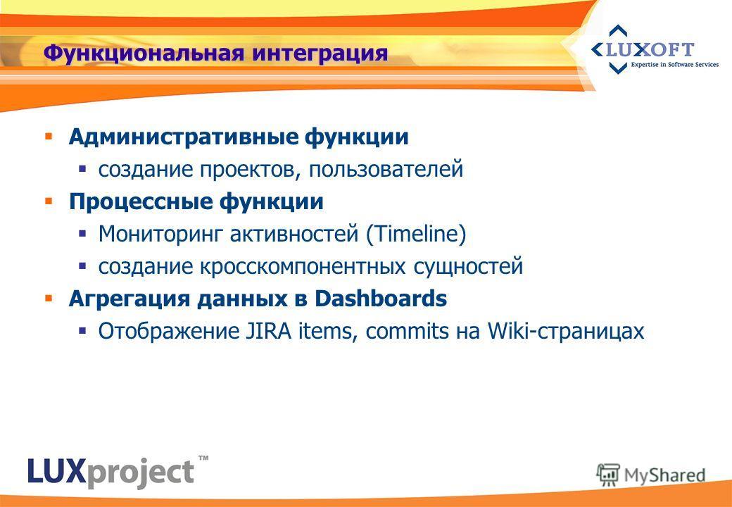 Функциональная интеграция Административные функции создание проектов, пользователей Процессные функции Мониторинг активностей (Timeline) создание кросскомпонентных сущностей Агрегация данных в Dashboards Отображение JIRA items, commits на Wiki-страни