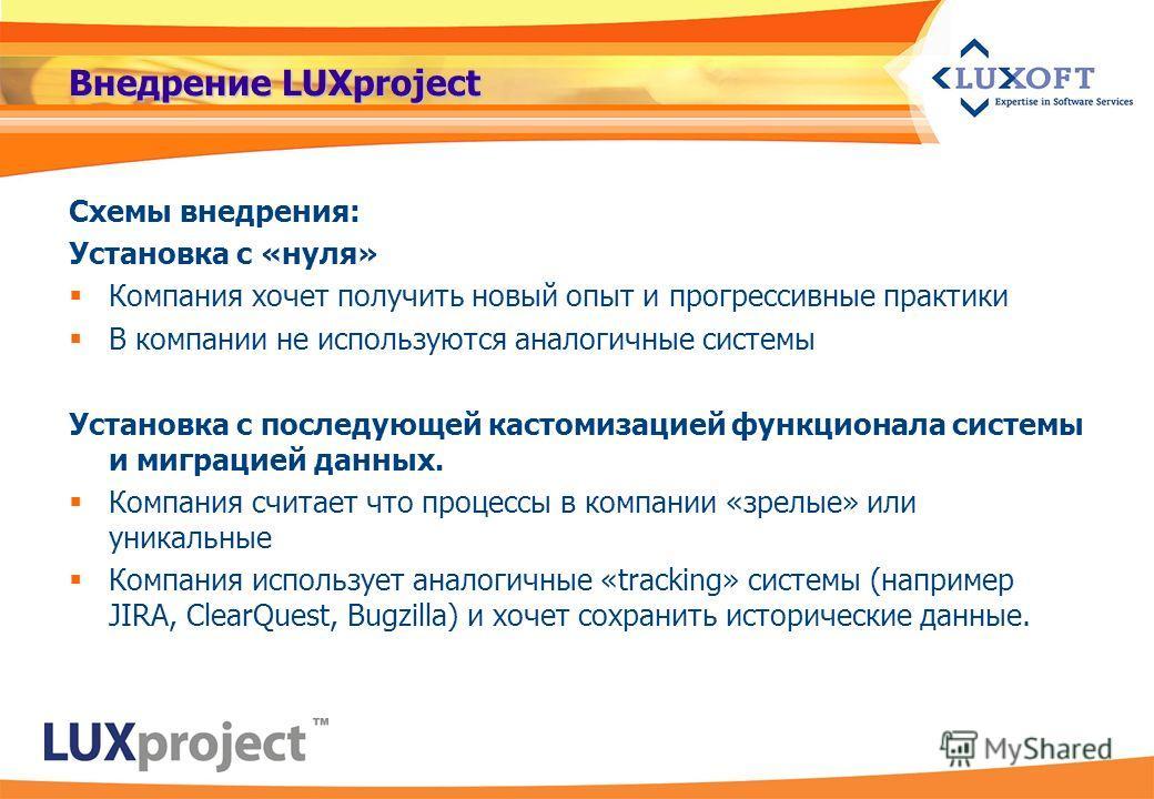 Внедрение LUXproject Схемы внедрения: Установка с «нуля» Компания хочет получить новый опыт и прогрессивные практики В компании не используются аналогичные системы Установка с последующей кастомизацией функционала системы и миграцией данных. Компания