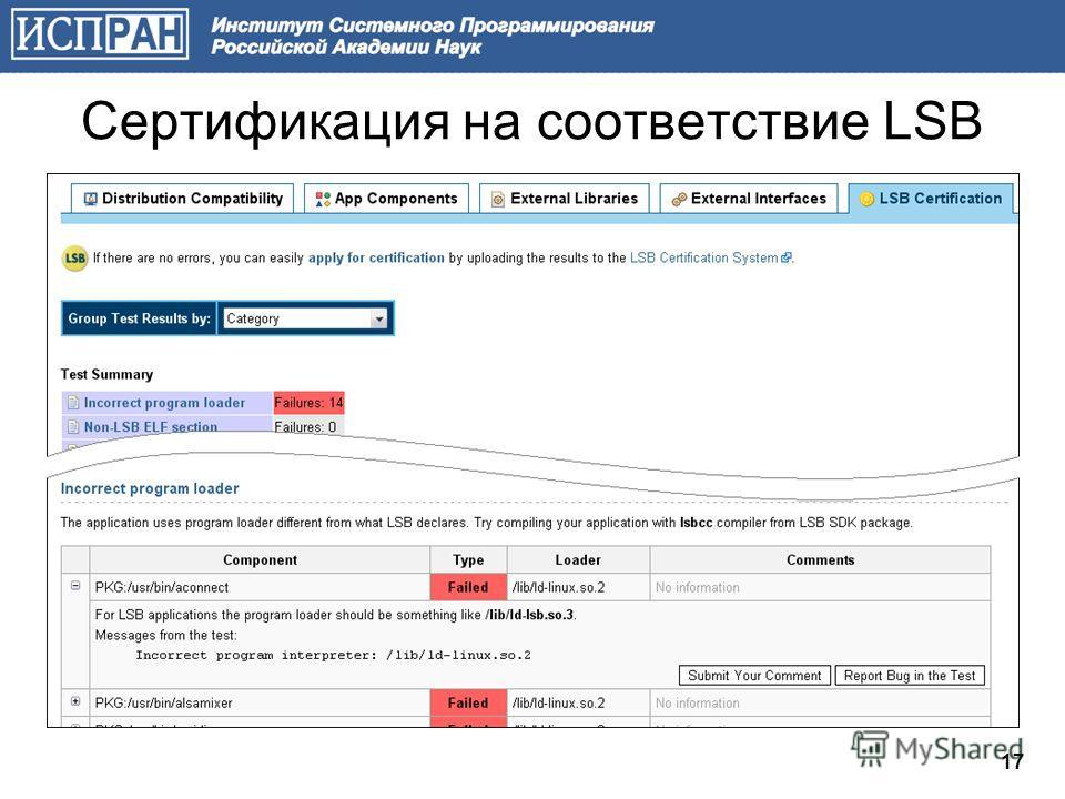 17 Сертификация на соответствие LSB