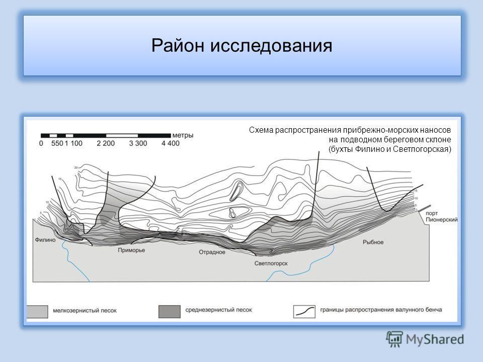 Схема распространения прибрежно-морских наносов на подводном береговом склоне (бухты Филино и Светлогорская) Район исследования