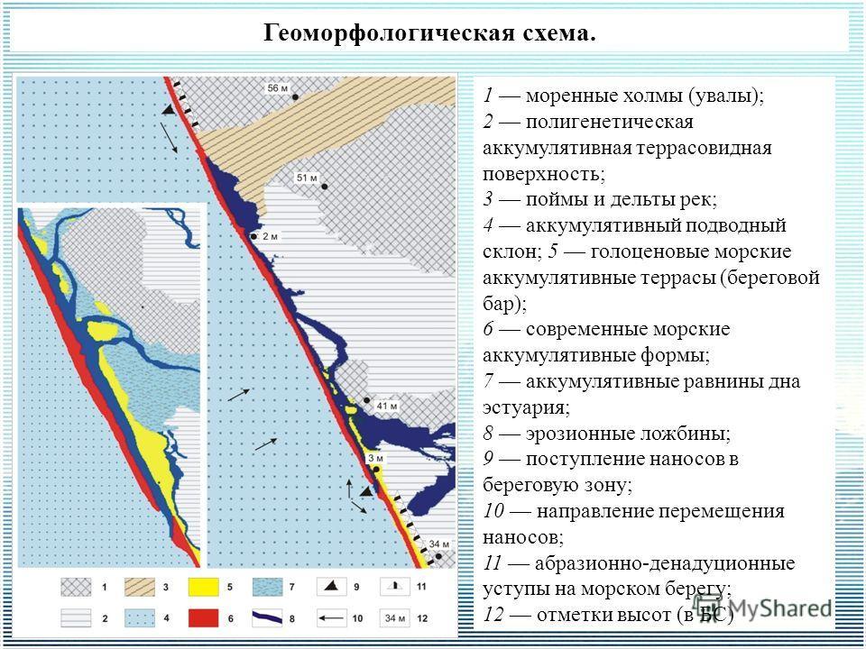 Геоморфологическая схема. 1 моренные холмы (увалы); 2 полигенетическая аккумулятивная террасовидная поверхность; 3 поймы и дельты рек; 4 аккумулятивный подводный склон; 5 голоценовые морские аккумулятивные террасы (береговой бар); 6 современные морск