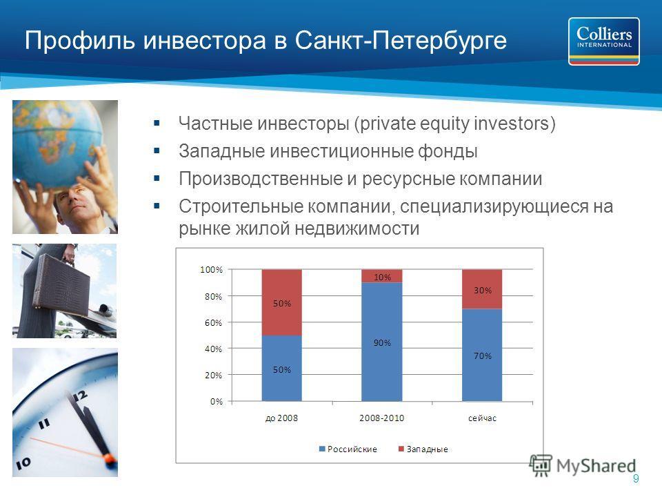 9 Профиль инвестора в Санкт-Петербурге Частные инвесторы (private equity investors) Западные инвестиционные фонды Производственные и ресурсные компании Строительные компании, специализирующиеся на рынке жилой недвижимости