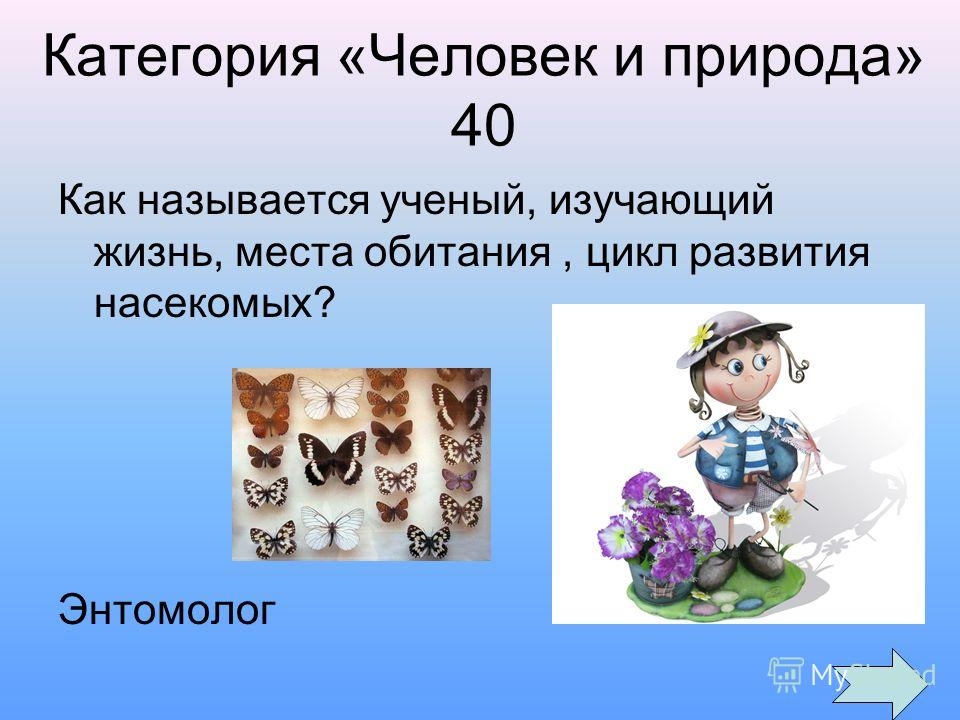 Категория «Человек и природа» 40 Как называется ученый, изучающий жизнь, места обитания, цикл развития насекомых? Энтомолог