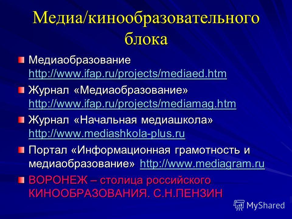 Медиа/кинообразовательного блока Медиаобразование http://www.ifap.ru/projects/mediaed.htm http://www.ifap.ru/projects/mediaed.htm Журнал «Медиаобразование» http://www.ifap.ru/projects/mediamag.htm http://www.ifap.ru/projects/mediamag.htm Журнал «Нача