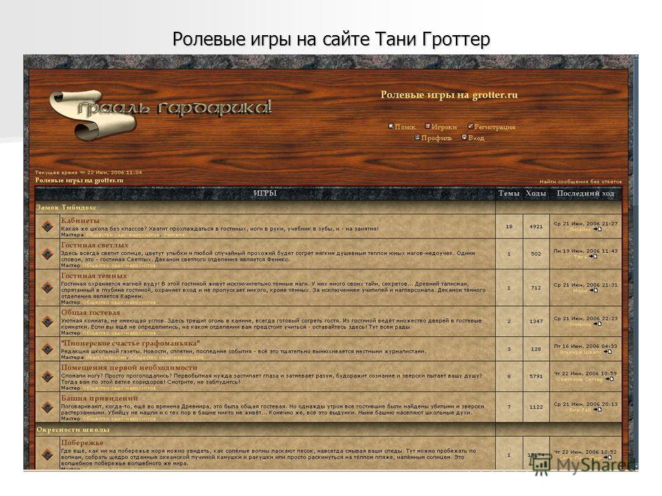 Ролевые игры на сайте Тани Гроттер