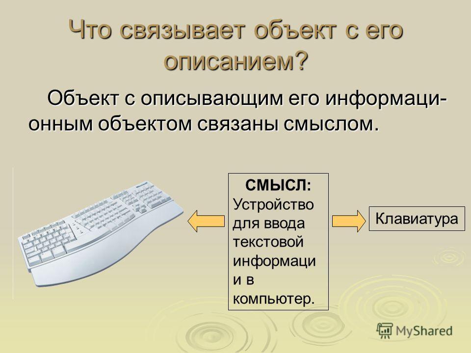 Что связывает объект с его описанием? Объект с описывающим его информаци- онным объектом связаны смыслом. СМЫСЛ: Устройство для ввода текстовой информаци и в компьютер. Клавиатура